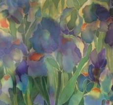Blue Iris on Silk